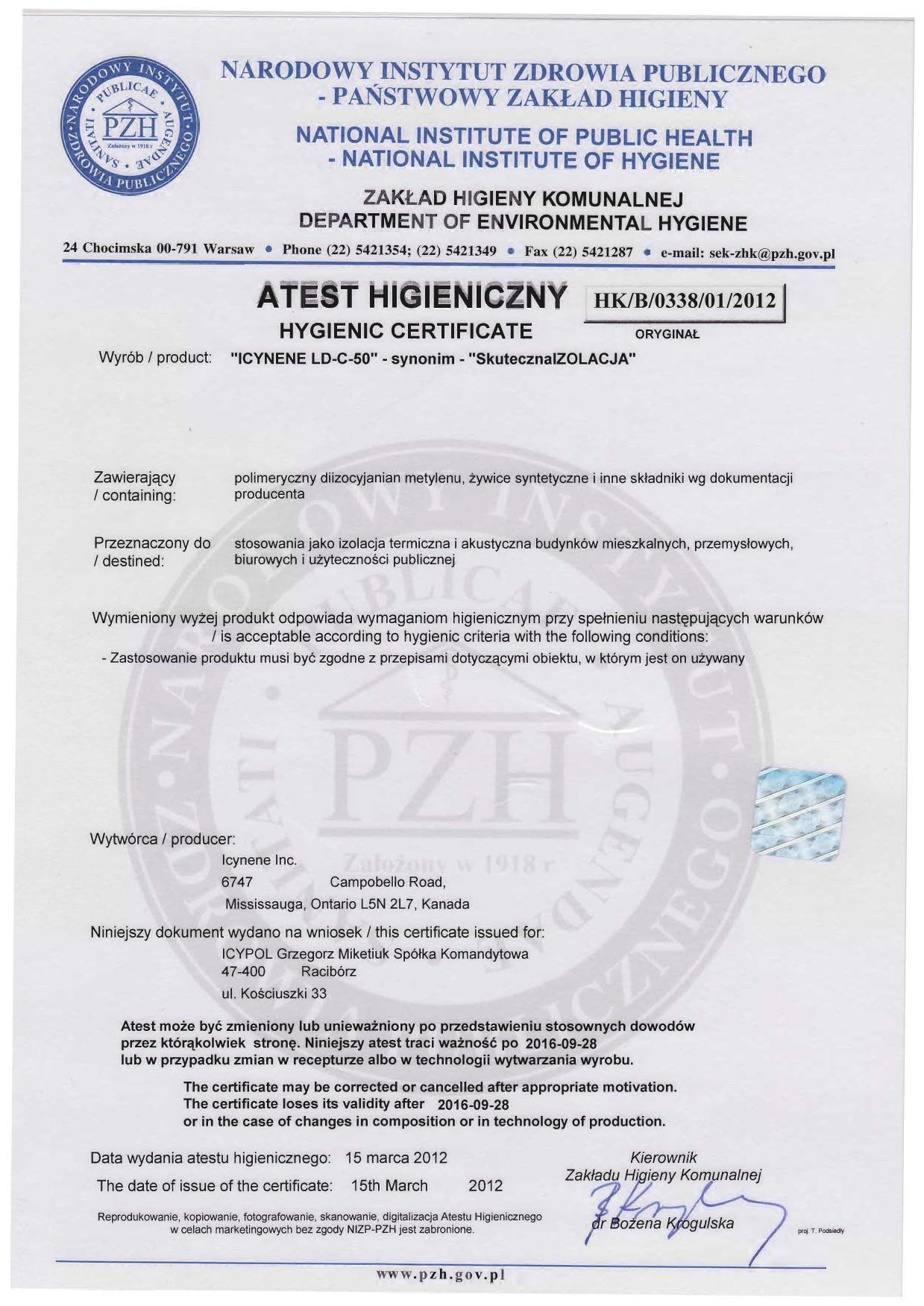 Atest PZH ICYNENE LD-C-50