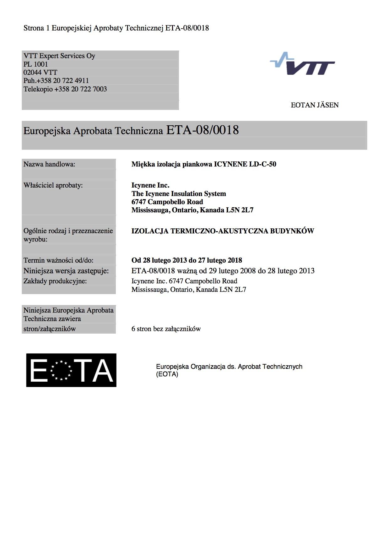 Europejska Aprobata Techniczna miekka izolacja piankowa